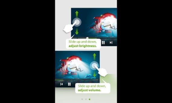 Opciones de control de brillo y volumen desde la pantalla de reproducción