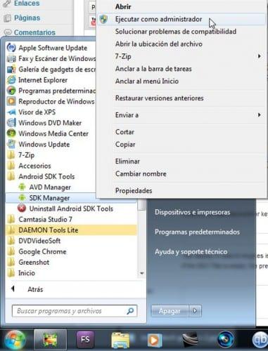 Menu inicio, todos los programas, Android SDK Tools