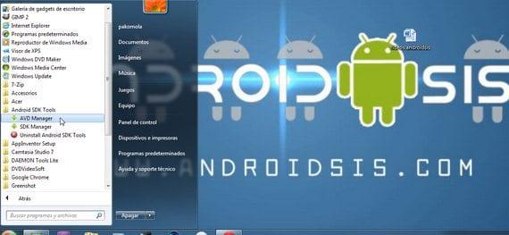 Inicio/todos los programas/Android SDK Tools/AVD manager