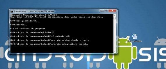 Terminal ruta hasta platform-tools