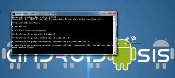 adb install mas en el nombre completo del archivo APK