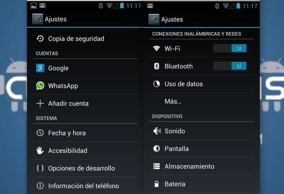 Menu ajustes Jelly Bean