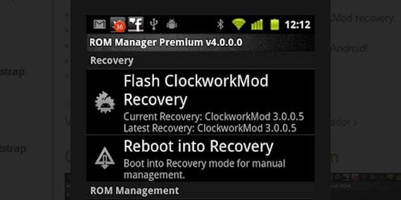 "Rom Manager ""Flash ClockworkMod Recovery"""