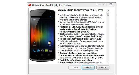 Samsung Galaxy Nexus, Gnex Toolkit v7.8, una herramienta para todo