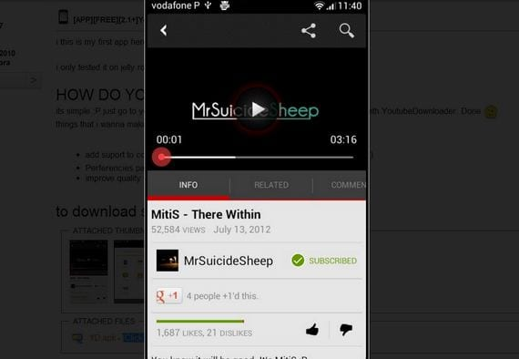 YoutubeDownloader app para Android gratis