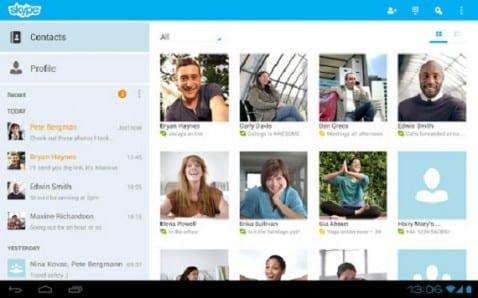 Skype para Android ahora se rediseña para el Tablet
