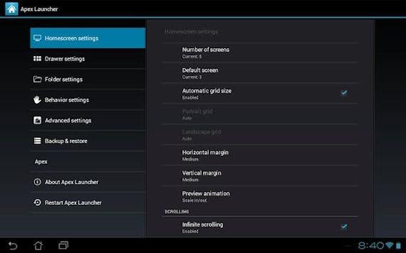 Apex Launcher se actualiza para dar soporte a Android 4.2