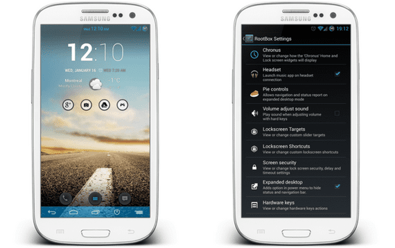 Samsung Galaxy S3, Rom Vanilla RootBox Android 4.2.1 con PIE Control