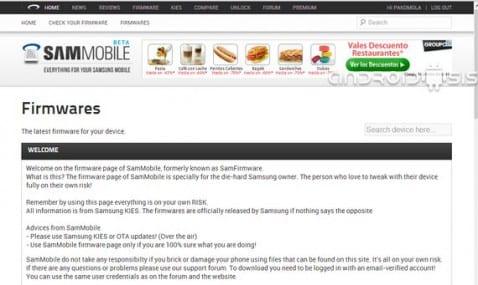 Cómo descargar firmwares oficiales para terminales Samsung