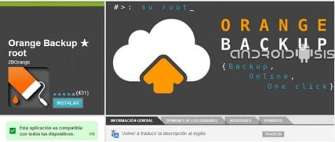 Orange Backup Root, tus nandroids backups directos a la nube