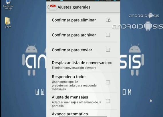 Configuraciones de Gmail
