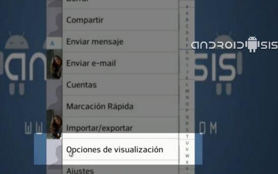 Opciones de visualización de los contactos
