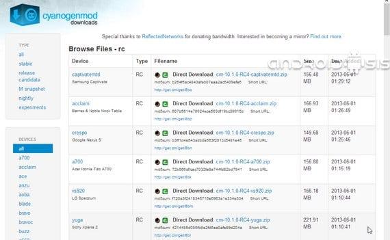 Cyanogenmod 10.1 RC4 ya disponibles para descarga directa