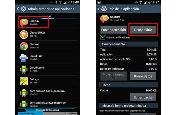 Listado de todas las aplicaciones y opción de deshabilitar