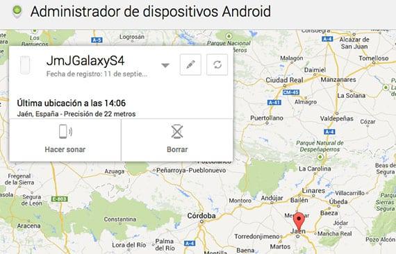 Administrador de Dispositivos de Android.