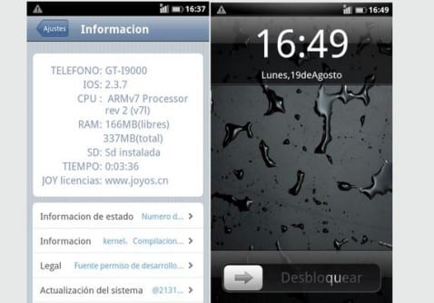 Samsung Galaxy S, Rom Joyos Android 2.3.7 iPhone Style con aplicación Radio FM integrada