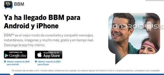 BBM para Android e iOS ya disponible para descarga