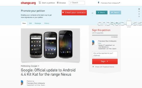 Android 4.4 Kit Kat para toda la gama Nexus, (petición oficial)