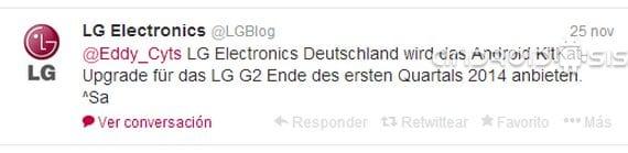 LG aplazaría la actualización del LG G2 a Android 4.4 Kit Kat hasta el mes de marzo