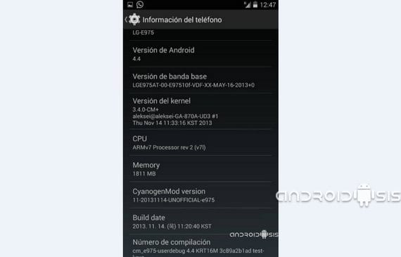 LG Optimus G, Rom CM11 unofficial Android 4.4 Kit Kat