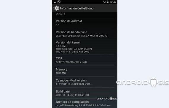 CyanogenMod 11 Android 4.4 Kit Kat para el LG Optimus G