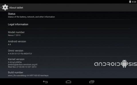 OmniRom ofrece soporte para actualizar a Android 4.4 Kit Kat de manera extraoficial