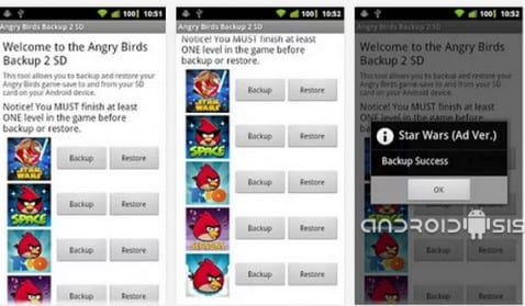 Guarda las partidas de Angry Birds en tu SD Card