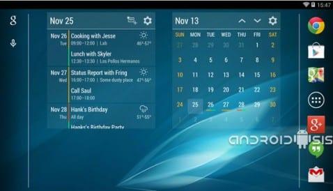 Los mejores Widgets para Android, hoy Event Flow Calendar Widget