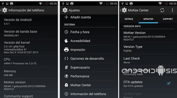 Samsung Galaxy S, Rom Android 4.4 Kit Kat by Mokee