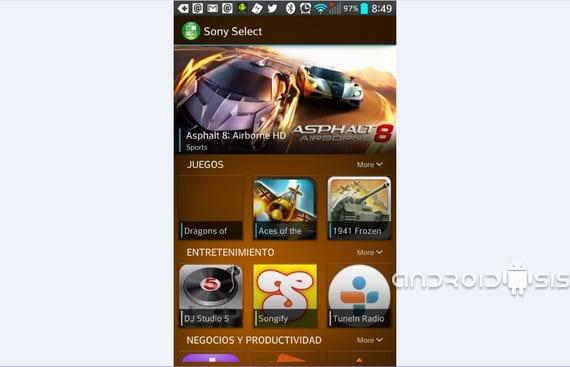 Sony Select portada para cualquier Android