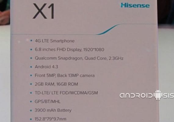 CES 2014 Hisense X1, un gigante en tus manos