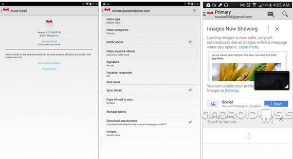 Descarga la nueva versión de Gmail 4.7.2 con carga de imágenes automáticas