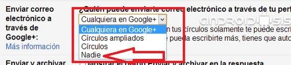 Gmail: Cómo evitar que cualquiera desde G+ te envíe un correo electrónico