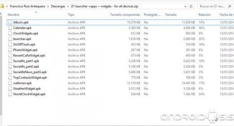 Xperia Z1, Descarga Launcher Apps más Widgets para instalar en cualquier Android
