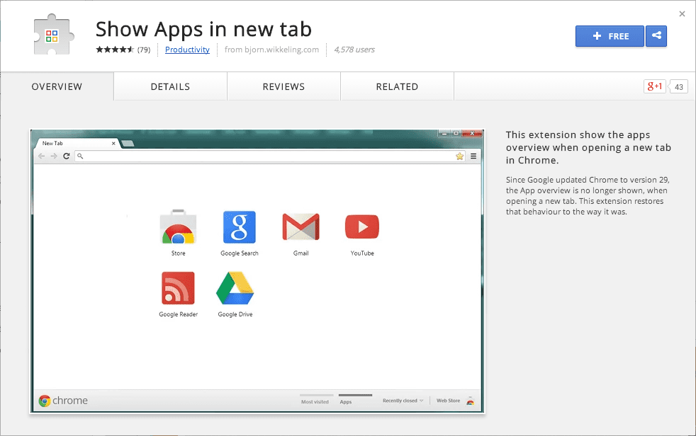 Show Apps in new tab