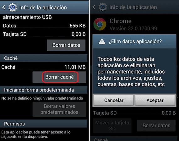 cómo borrar cache Android