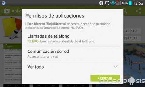 Más sobre los permisos en Android, nuevas concesiones en las actualizaciones