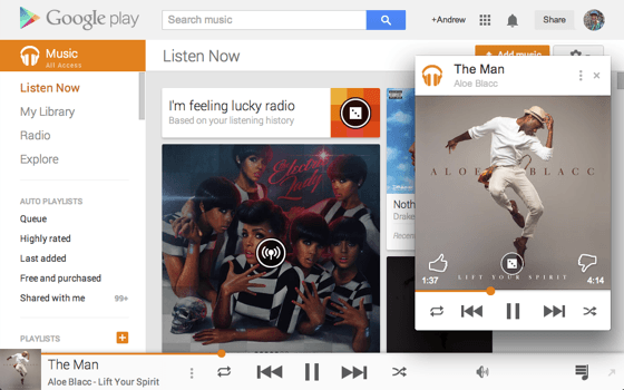 Reproductor de música de Google Play Music