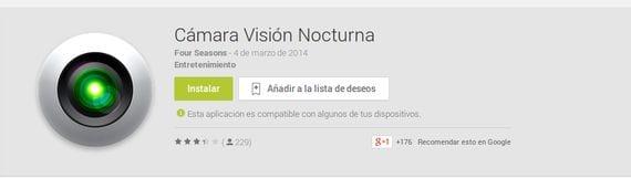 Cámara Visión Nocturna sigue estando disponible en el Play Store, ¡Mucho cuidado!