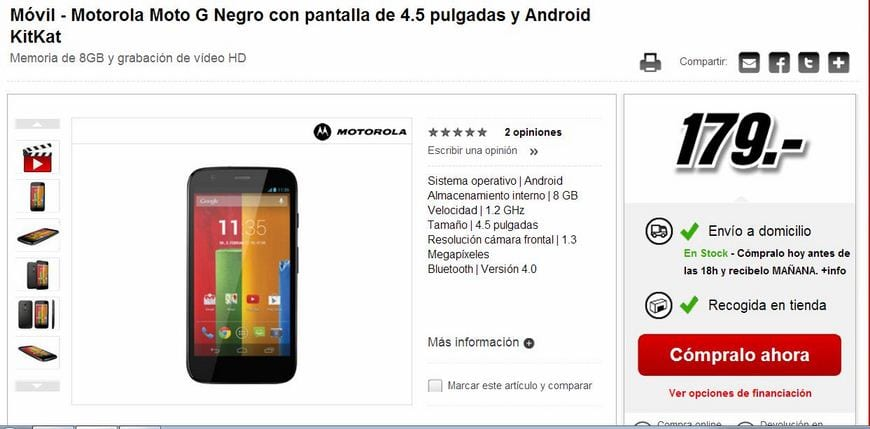Motorola Moto G disponible en Media Markt por 179 Euros