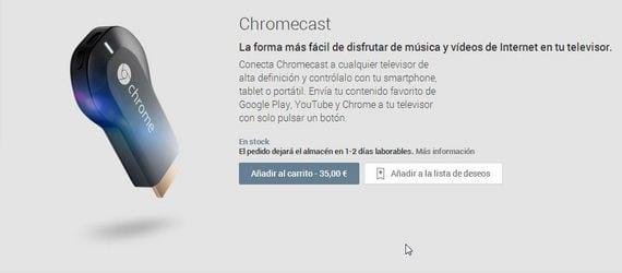 Ya puedes comprar Chromecast oficialmente en el Play Store de Google