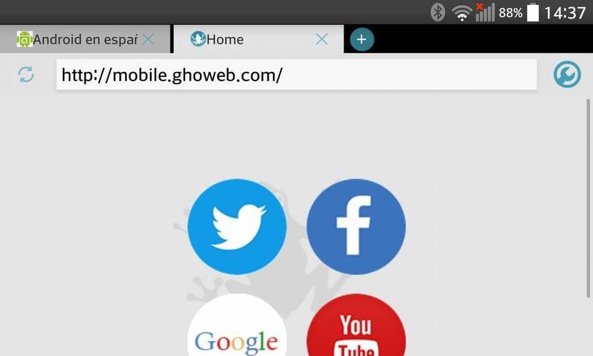 Frog Browser, un navegador web rápido ligero y funcional