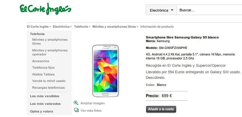 Ya se puede comprar el Samsung Galaxy S5 desde hoy mismo en El Corte Inglés