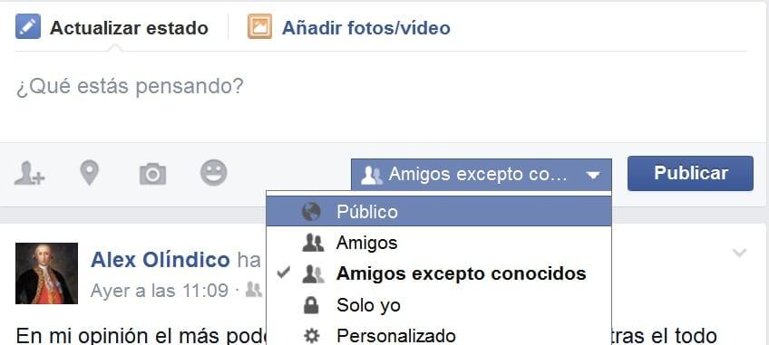 actualización estado facebook