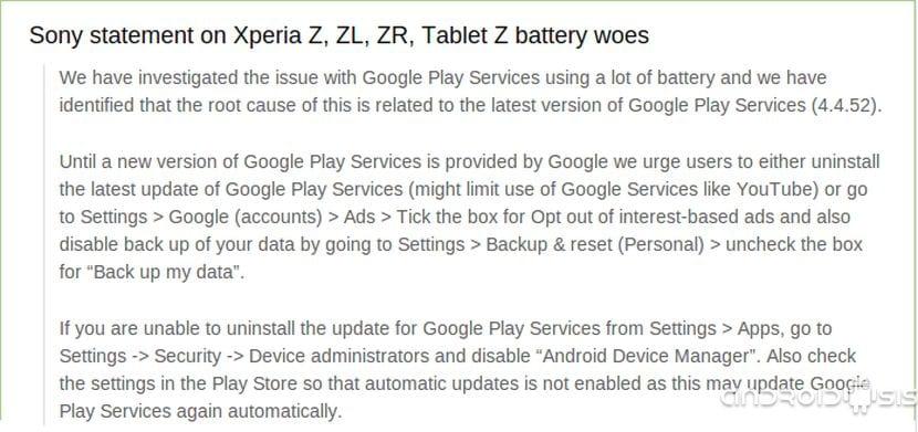 Solución a los problemas de consumo de batería en la gama Xperia Z tras la actualización aficial a KitKat