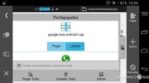 Cómo funciona el copiado múltiple de archivos en Android con ES Explorador de archivos