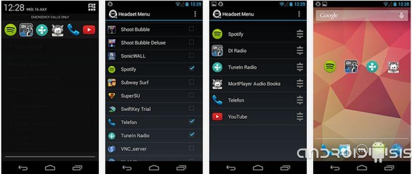 Aplicaciones increíbles para Android: Hoy Headset Menú