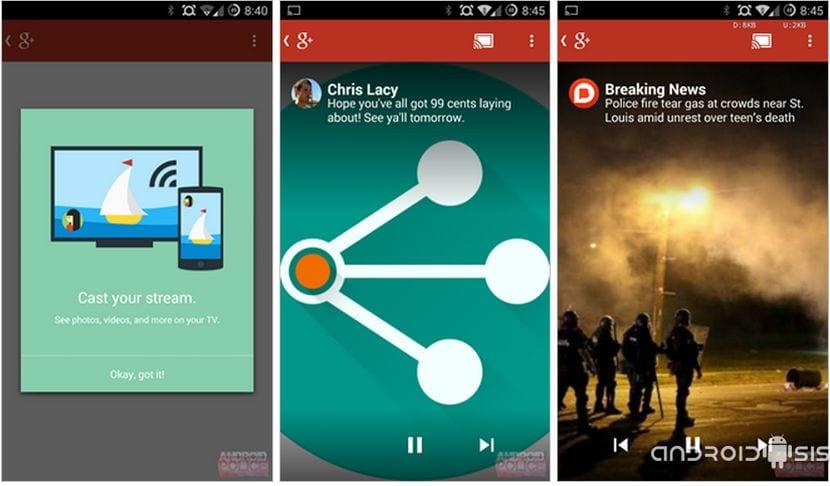 Descarga la nueva versión de Google Plus con soporte nativo para Chromecastu