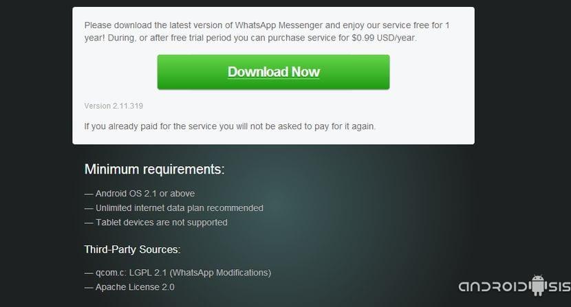Descargar la última versión de WhatsApp con soporte para Android Wear