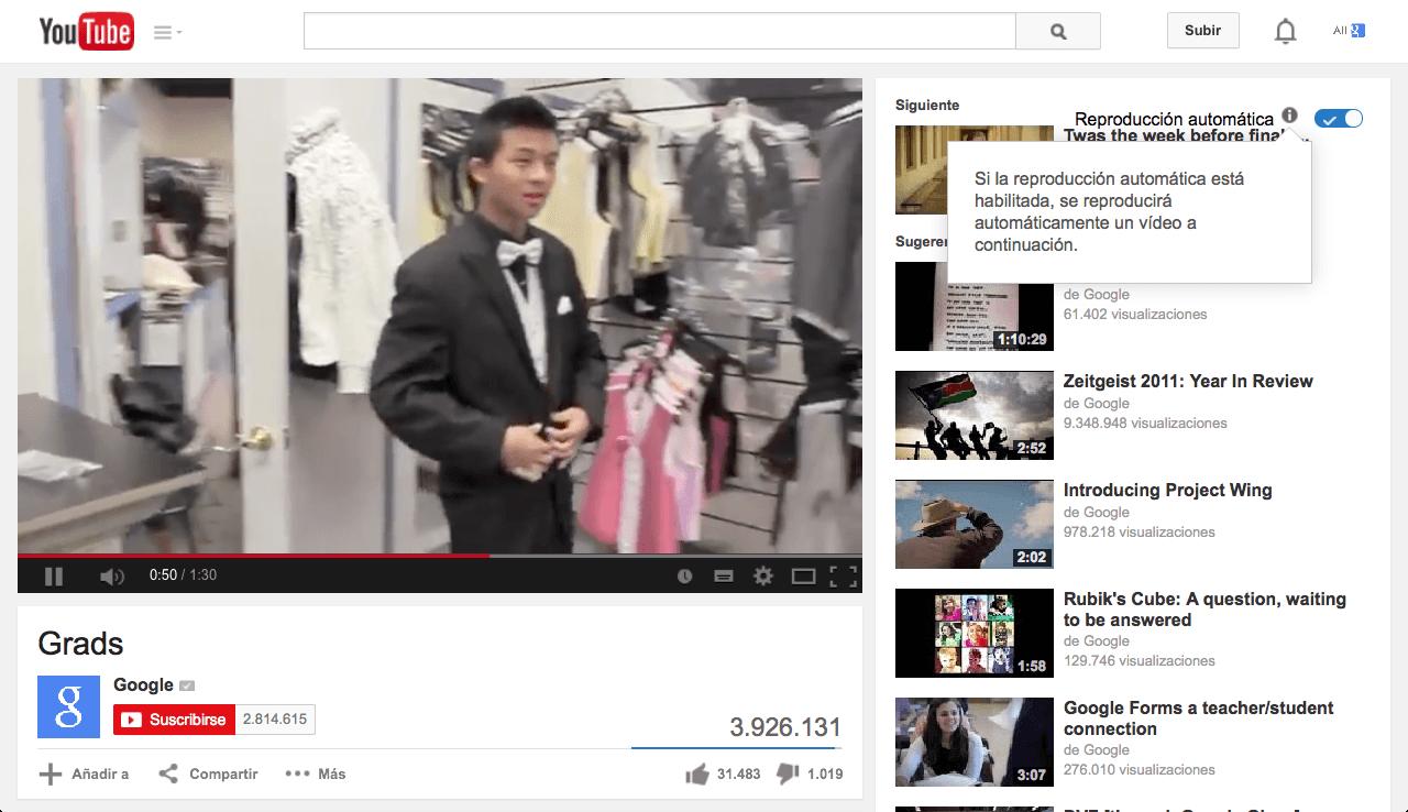 Autoplay en YouTube para los vídeos sugeridos